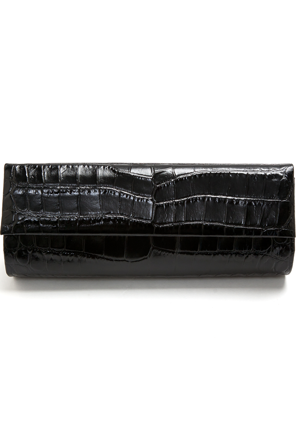 Mel Boteri | 'Audrey' Cocktail Clutch | Black, Croc-Effect Glazed Leather | Front