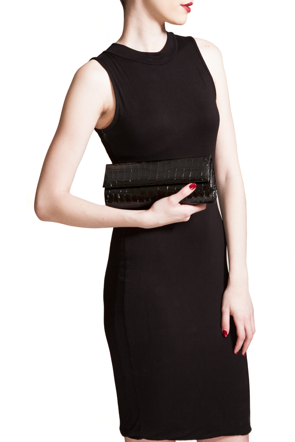 Mel Boteri | 'Audrey' Cocktail Clutch | Black, Croc-Effect Glazed Leather | Model