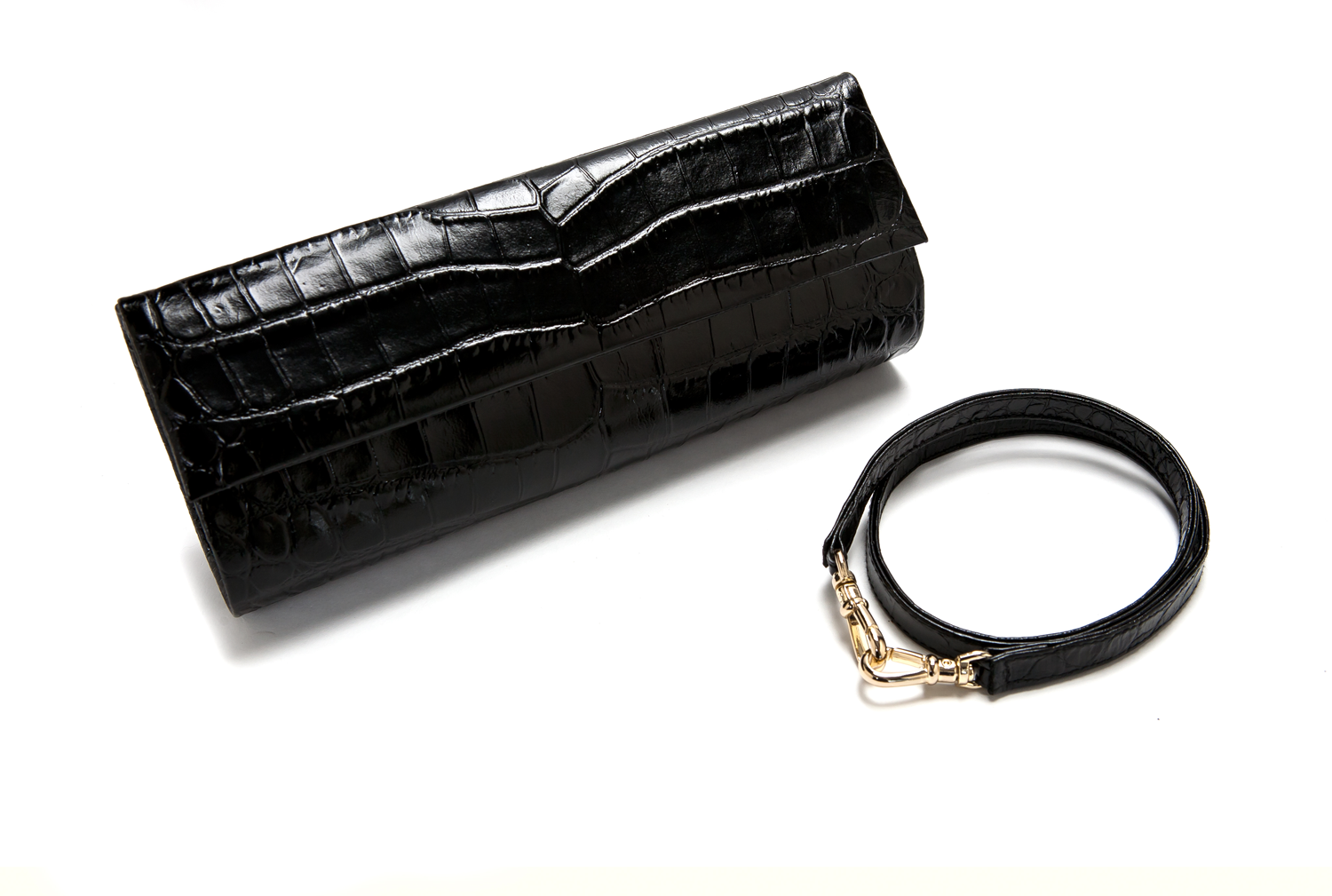 Mel Boteri | 'Audrey' Cocktail Clutch | Black, Croc-Effect Glazed Leather | Detail