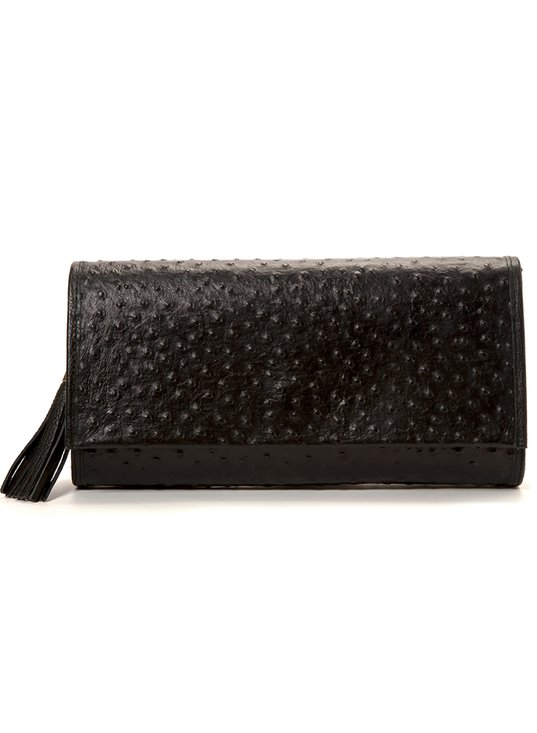 'Cara' Envelope Clutch in Black Ostrich Print Leather | Mel Boteri | Front View With Tassel