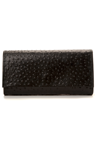 'Cara' Envelope Clutch in Black Ostrich Print Leather | Mel Boteri | Front View