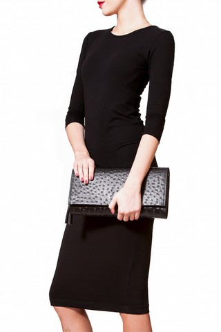 'Cara' Envelope Clutch in Black Ostrich Print Leather | Mel Boteri | Model Clutch View