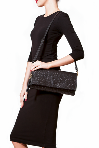 'Cara' Envelope Clutch in Black Ostrich Print Leather | Mel Boteri | Model Shoulder Bag View