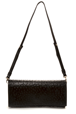 'Cara' Envelope Clutch in Black Ostrich Print Leather | Mel Boteri | Shoulder Strap View