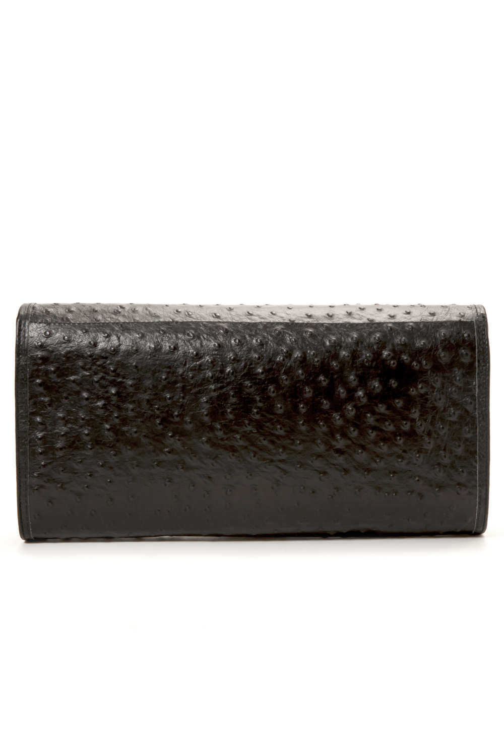 'Cara' Envelope Clutch in Black Ostrich Print Leather | Mel Boteri | Back View