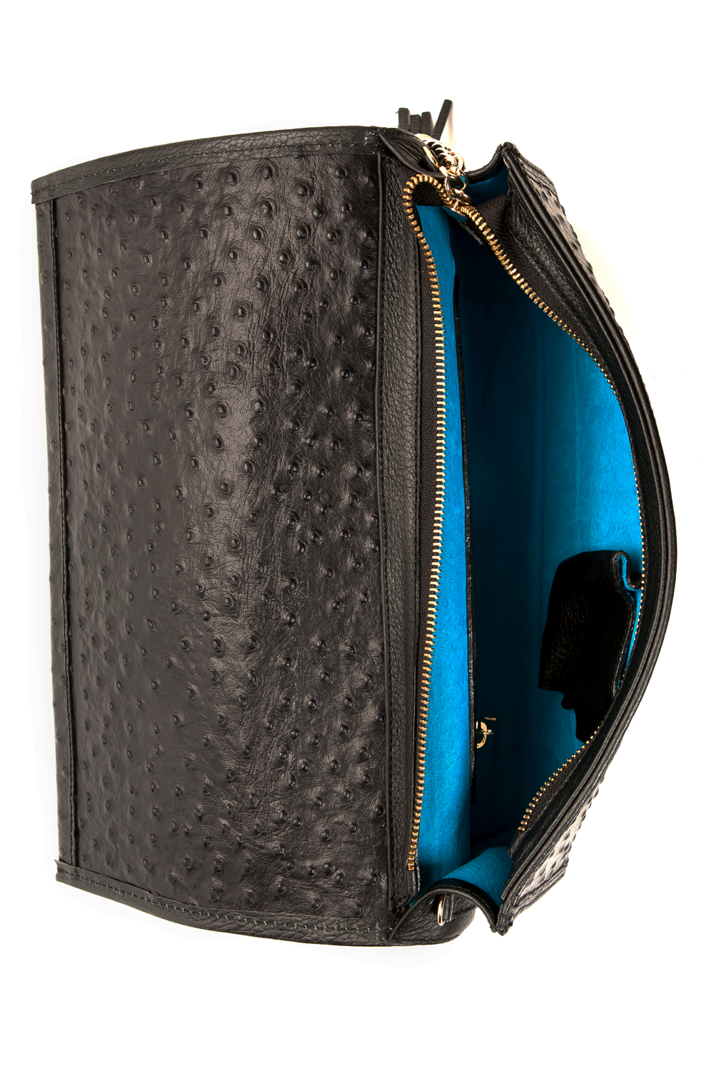 'Cara' Envelope Clutch in Black Ostrich Print Leather | Mel Boteri | Model Interior View