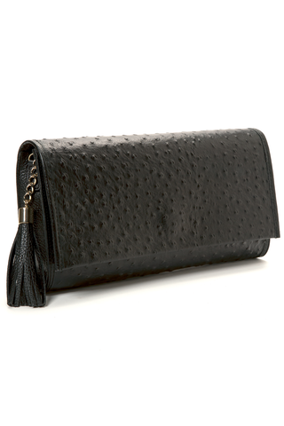 'Cara' Envelope Clutch in Black Ostrich Print Leather | Mel Boteri | Side View