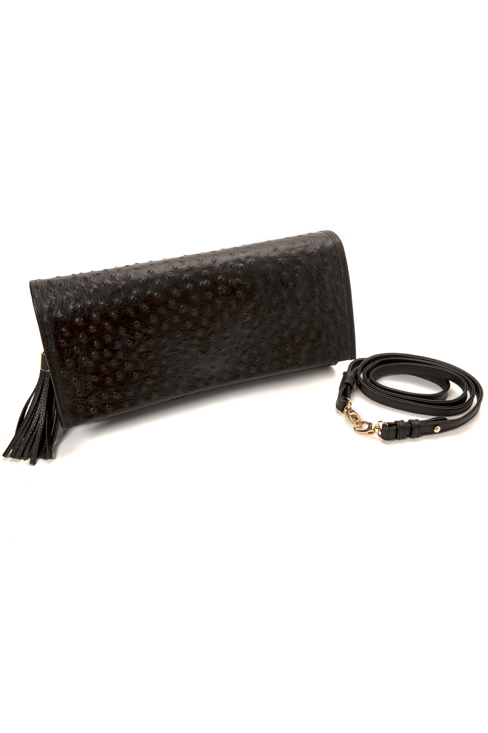 'Cara' Envelope Clutch in Black Ostrich Print Leather | Mel Boteri | Side Strap View