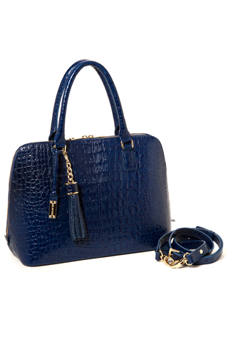 Luxe Blue, Caiman-Effect Leather 'Watson' Tote | Mel Boteri | Side View