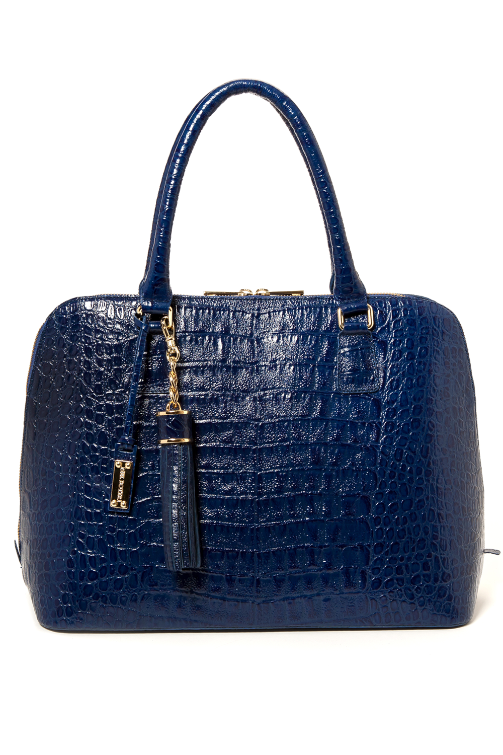 Luxe Blue, Caiman-Effect Leather 'Watson' Tote | Mel Boteri | Front View