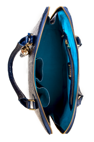 Luxe Blue, Caiman-Effect Leather 'Watson' Tote | Mel Boteri | Interior View