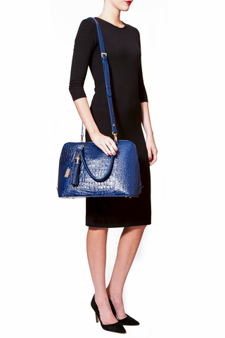 Luxe Blue, Caiman-Effect Leather 'Watson' Tote | Mel Boteri | Model Shoulder Strap View
