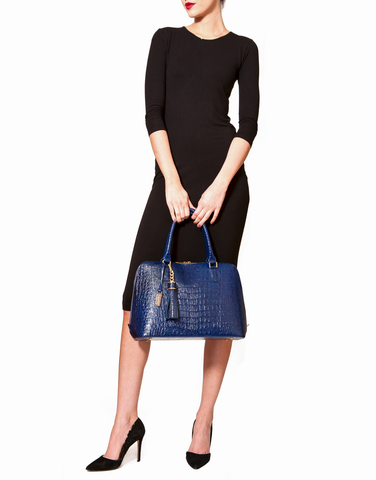 Luxe Blue, Caiman-Effect Leather 'Watson' Tote | Mel Boteri | Model Tote View
