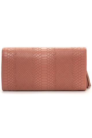 'Cara' Envelope Clutch in Blush Snake-Effect Leather | Mel Boteri | Back View