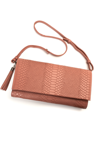 'Cara' Envelope Clutch in Blush Snake-Effect Leather | Mel Boteri | Flatlay