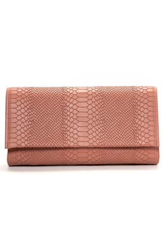 'Cara' Envelope Clutch in Blush Snake-Effect Leather | Mel Boteri | Front View