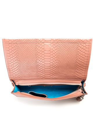 'Cara' Envelope Clutch in Blush Snake-Effect Leather | Mel Boteri | Interior View