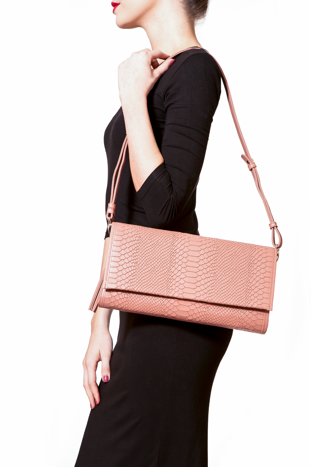 'Cara' Envelope Clutch in Blush Snake-Effect Leather | Mel Boteri | Model Shoulder Bag View