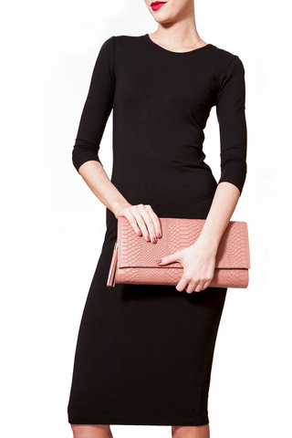 'Cara' Envelope Clutch in Blush Snake-Effect Leather | Mel Boteri | Clutch View