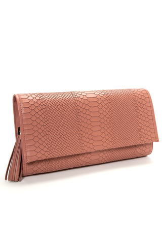 'Cara' Envelope Clutch in Blush Snake-Effect Leather | Mel Boteri | Side View