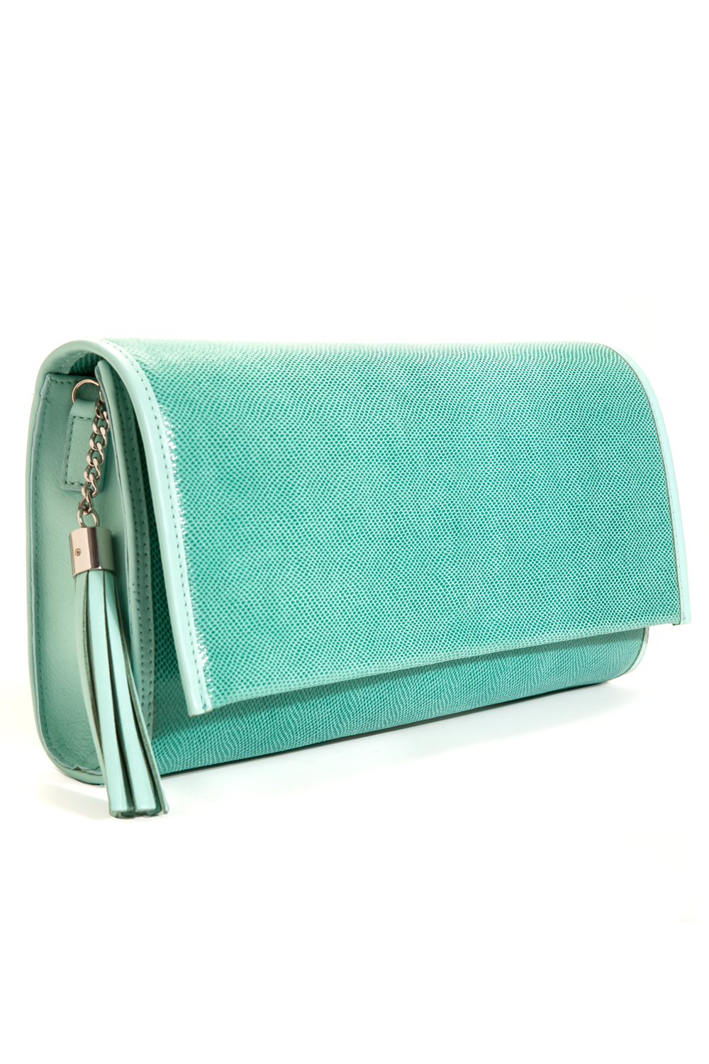 'Cara' Envelope Clutch in Iceberg Snake-Effect Leather | Mel Boteri | Side View