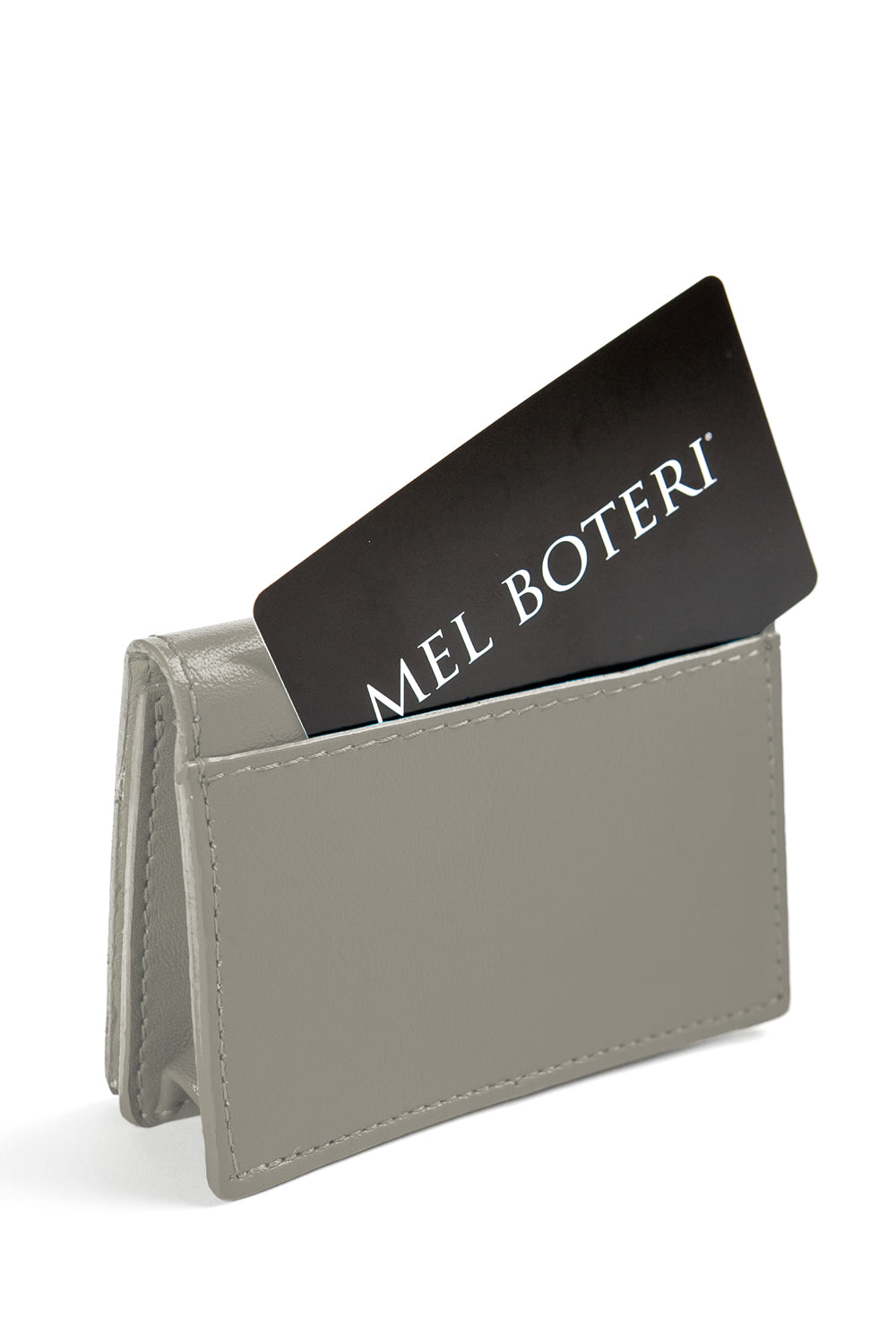 Mel Boteri | 'Nice To Meet You' Cardholder | Gray Leather | Back View