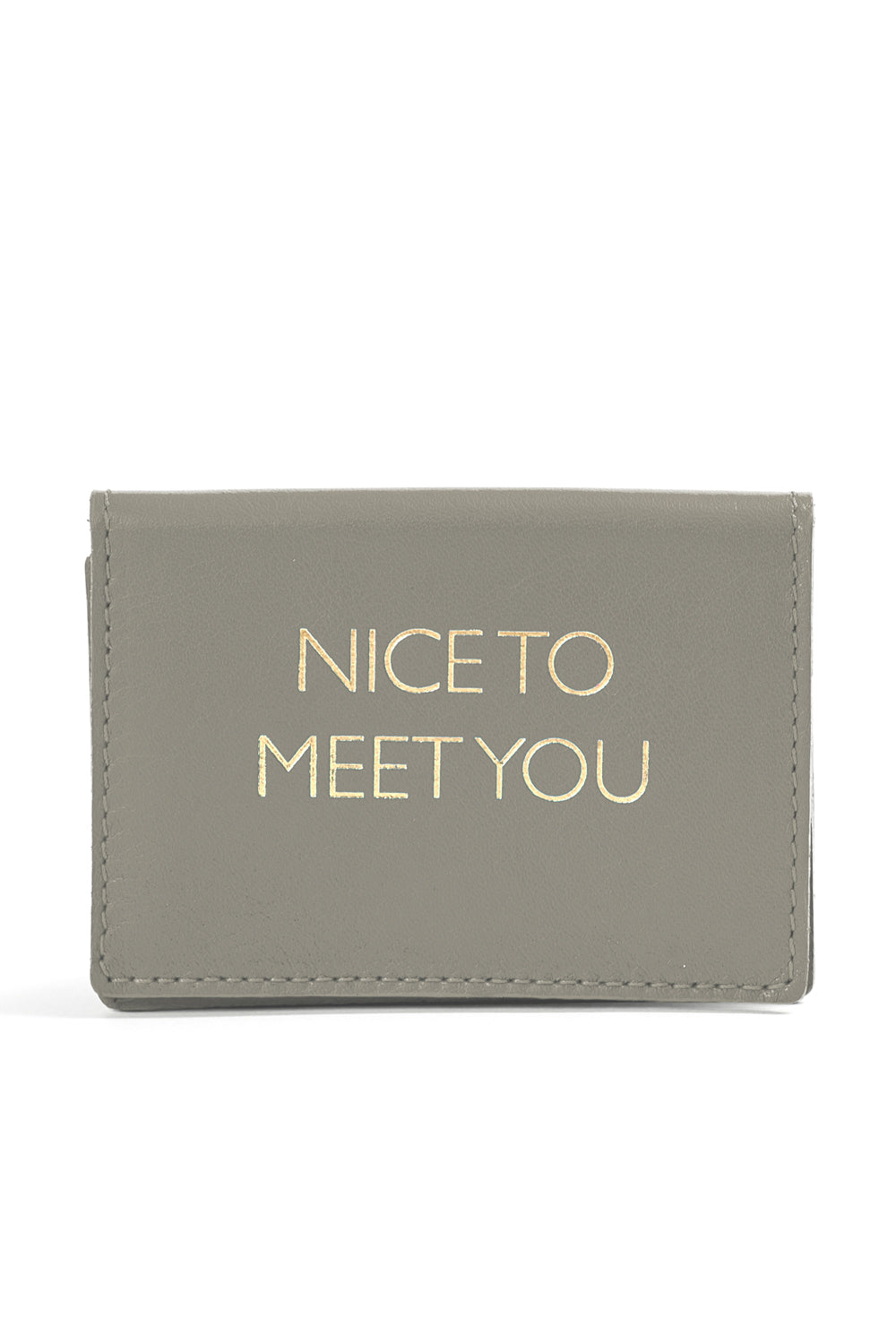 Mel Boteri | 'Nice To Meet You' Cardholder | Gray Leather | Front