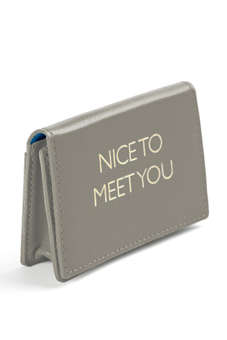 Mel Boteri | 'Nice To Meet You' Cardholder | Gray Leather | Side