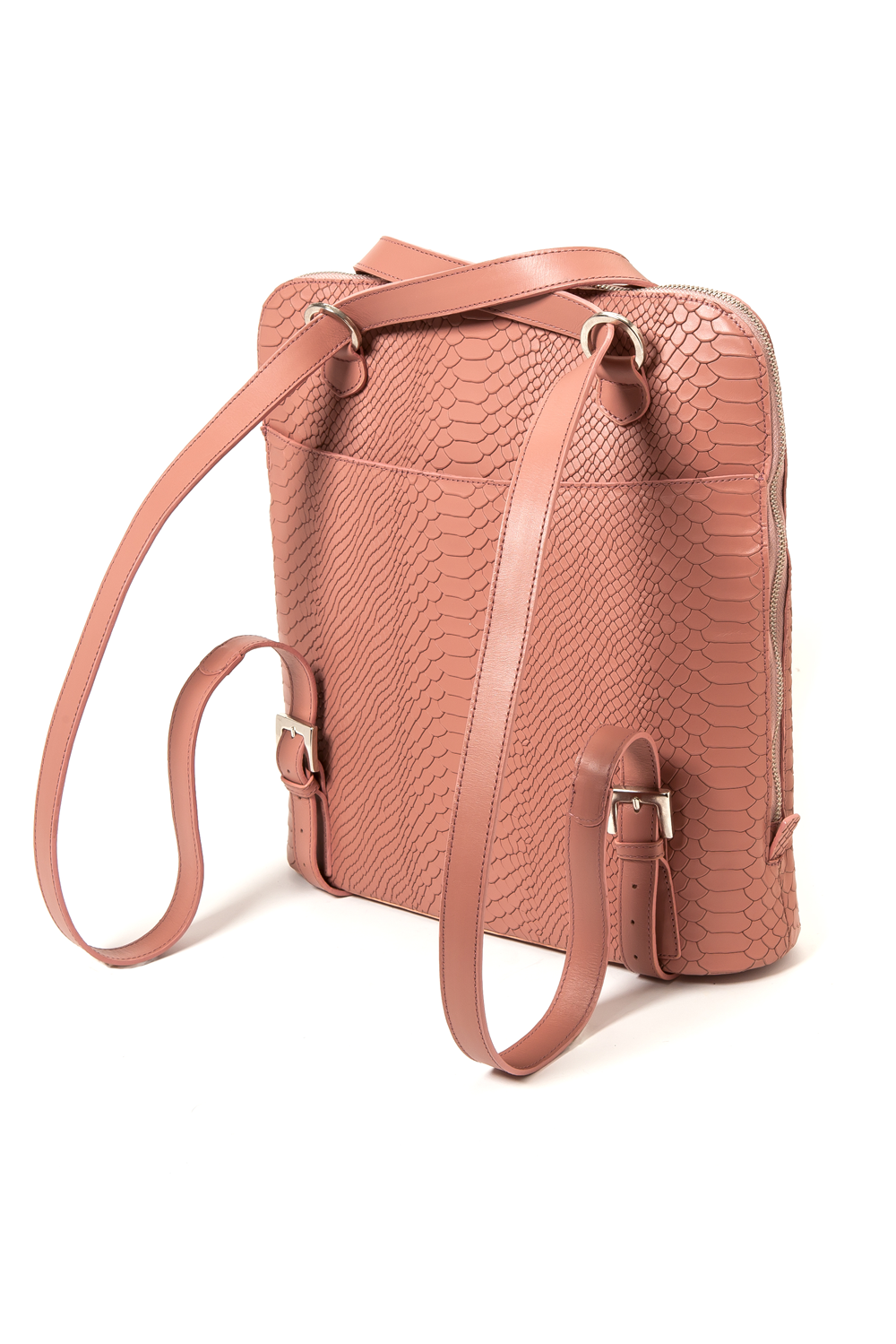 Mel Boteri | Dianne Convertible Tote Backpack | Blush Snake-Effect Leather | Backpack