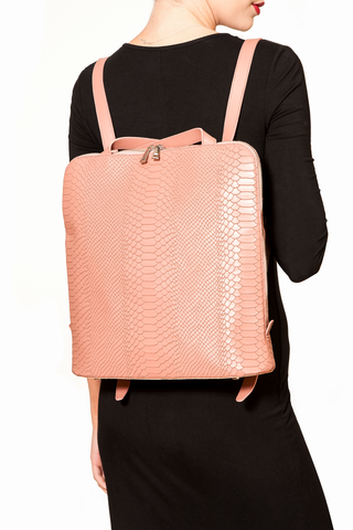 Mel Boteri | Dianne Convertible Tote Backpack | Blush Snake-Effect Leather | Backpack Model