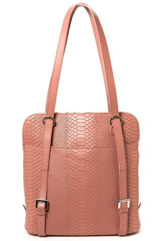 Mel Boteri | Dianne Convertible Tote Backpack | Blush Snake-Effect Leather | Back View