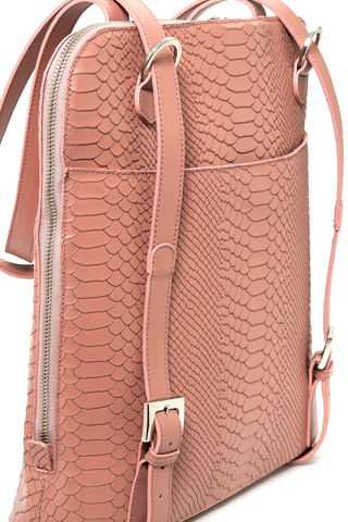Mel Boteri | Dianne Convertible Tote Backpack | Blush Snake-Effect Leather | Detail View