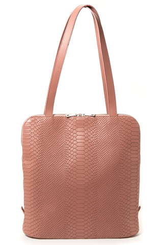 Mel Boteri | Dianne Convertible Tote Backpack | Blush Snake-Effect Leather | Front