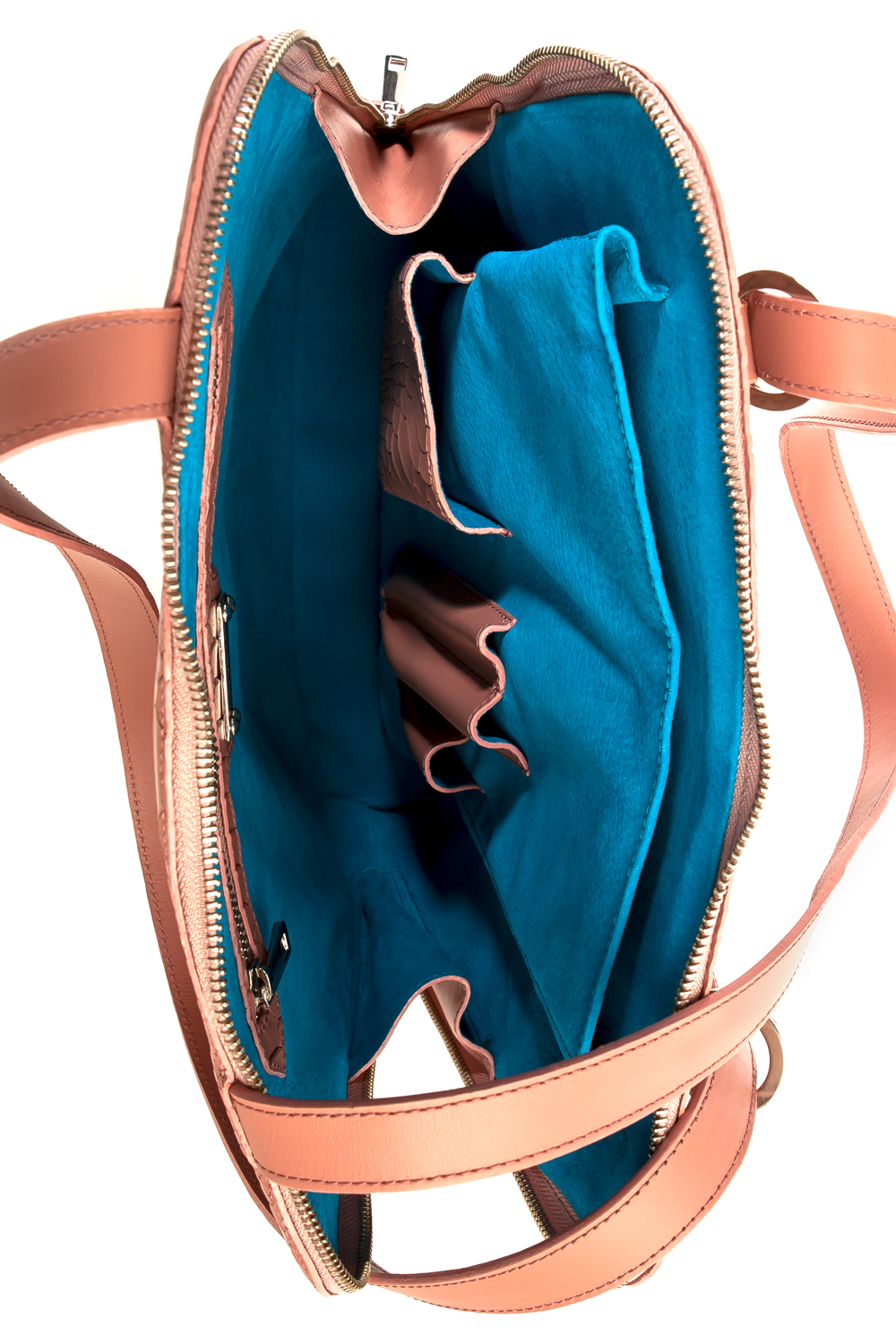 Mel Boteri | Dianne Convertible Tote Backpack | Blush Snake-Effect Leather | Interior View