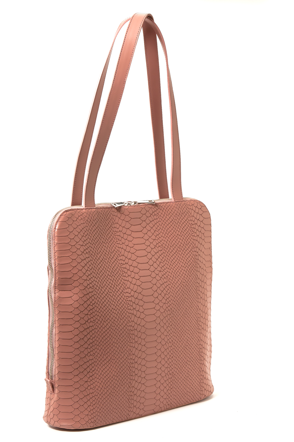 Mel Boteri | Dianne Convertible Tote Backpack | Blush Snake-Effect Leather | Side View
