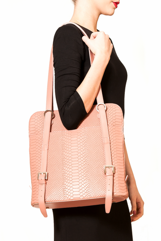 Mel Boteri | Dianne Convertible Tote Backpack | Blush Snake-Effect Leather | Tote Model