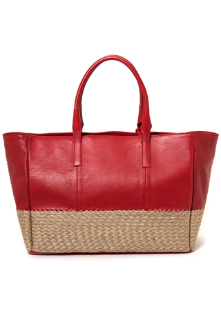 Mel Boteri | Red Leather And Espadrille Tote | Back