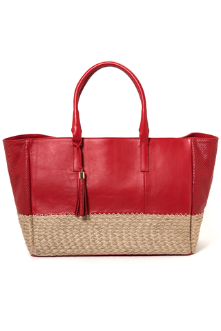 Mel Boteri | Red Leather And Espadrille Tote | Front