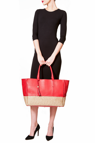 Mel Boteri | Red Leather And Espadrille Tote | Model