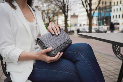 'Gema' Small Shoulder Bag in Grey, Croc-Emboss Leather | Mel Boteri | Model View