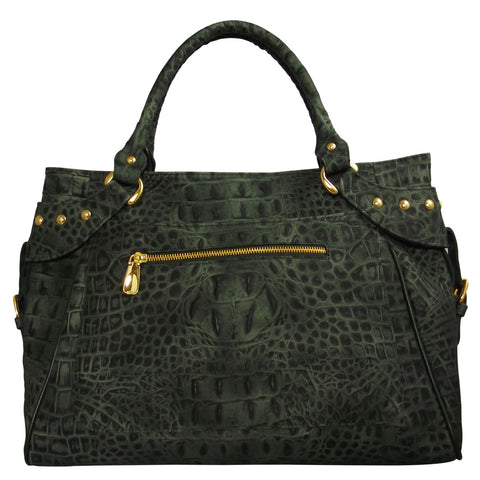 Mel Boteri | Army Green Croc-Embossed Taylor Tote | Back View