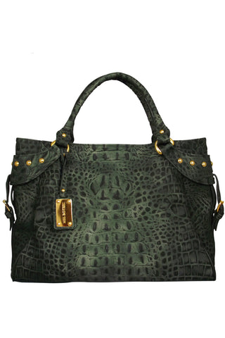 Mel Boteri | Army Green Croc-Embossed Taylor Tote | Front View