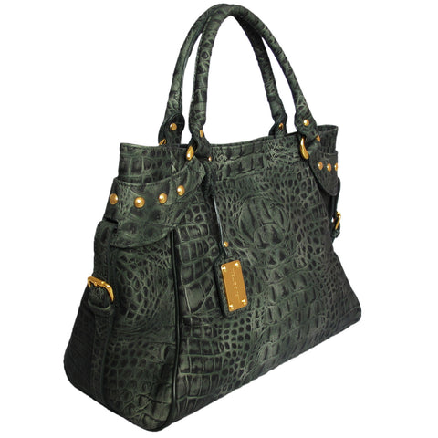 Mel Boteri | Army Green Croc-Embossed Taylor Tote | Side View