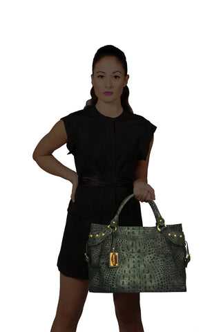 Mel Boteri | Army Green Croc-Embossed Taylor Tote | Model View