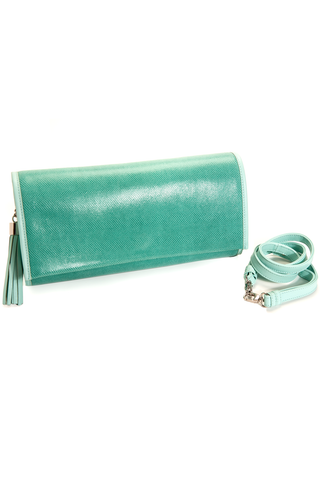 'Cara' Envelope Clutch in Iceberg Snake-Effect Leather | Mel Boteri | Side View Details