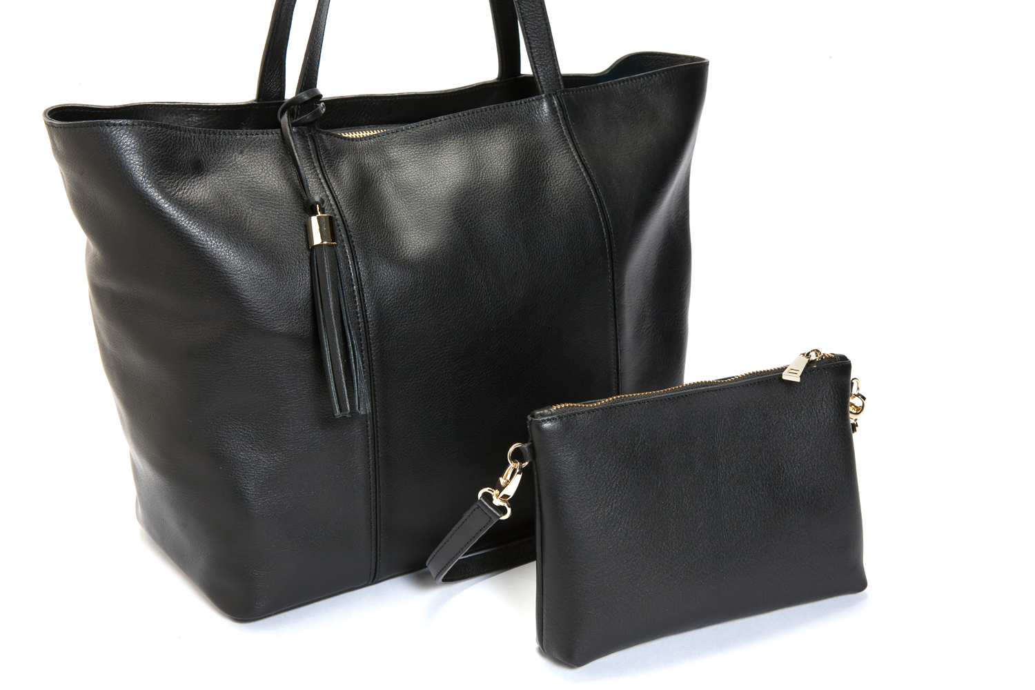 Mel Boteri | Kat Tote | Black Textured Leather | Detail