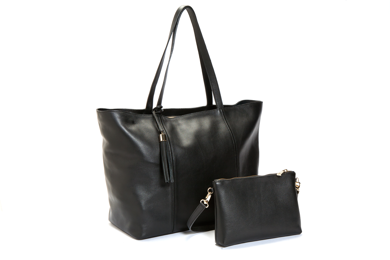Mel Boteri | Kat Tote | Black Textured Leather | Duo