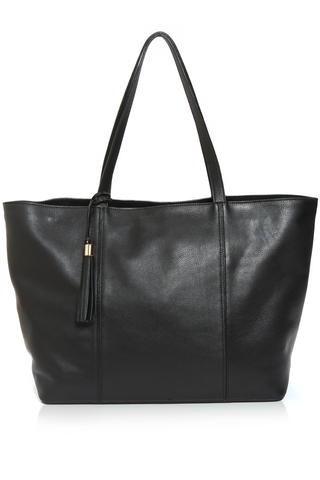 Mel Boteri | Kat Tote | Black Textured Leather | Front