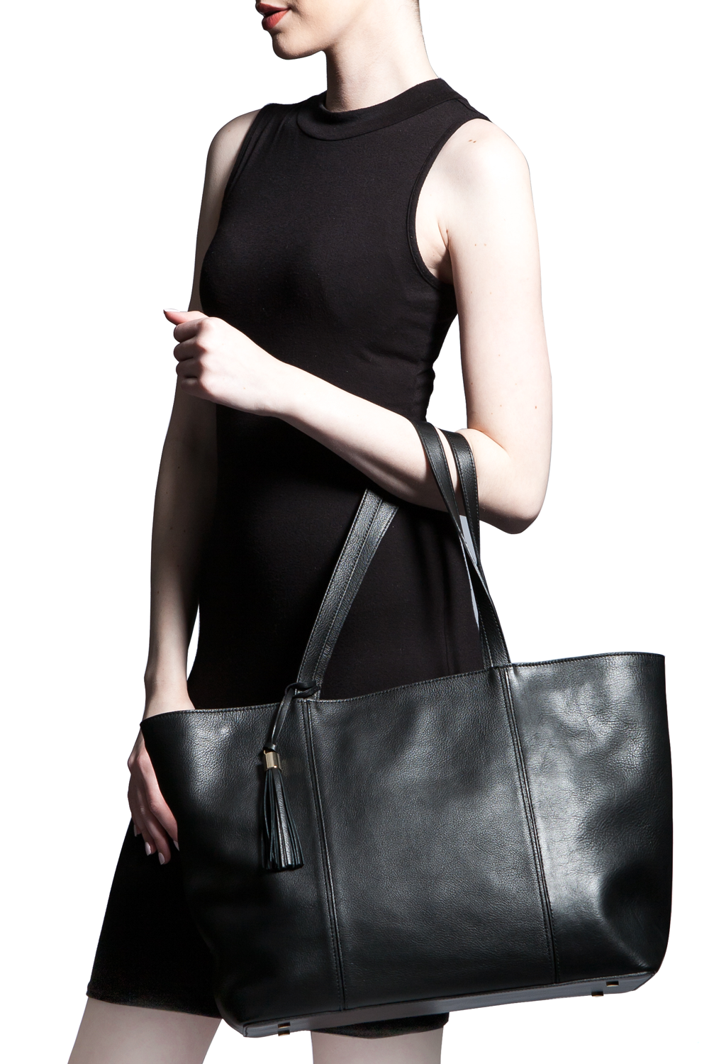 Mel Boteri | Kat Tote | Black Textured Leather | Model