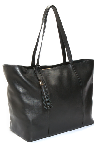 Mel Boteri | Kat Tote | Black Textured Leather | Side